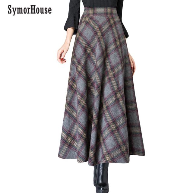 c7bdeea4a2d0f High Waisted Woolen Maxi Skirts Womens Winter 2018 Fashion Plaid Wool  Pleated Skirt Ladies Casual Warm Vintage Saia Longa Femme