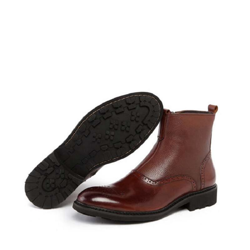 marrom Casuais Outono Boots Masculino Marrom Qualidade Dos Chelsea Inverno De Genuíno Mocassim Mycolen Negócios Homem Homens Ankle Sapatos Botas Bota Do Preto Couro HB5FKwq