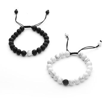 Bracelet couple longue distance noir et blanc