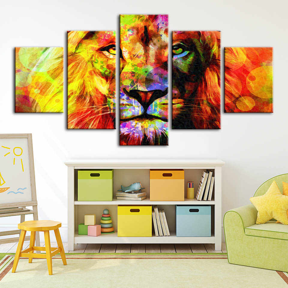Canvas Painting Hd Printed Lion Home Decoration Abstract Animal Pictures Posters Modern Wall Art For Living Room Artwork Framed