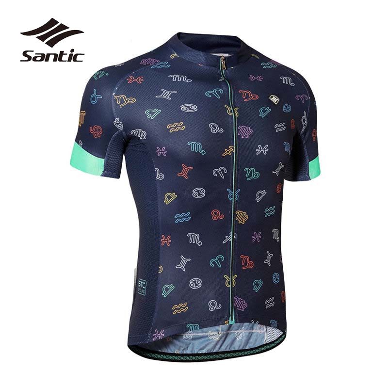 цена на Santic Cycling Jersey Men Short Sleeve Summer Breathable Quick Dry Cycling Shirts Road Mountain Bicycle Bike Jersey MTB Clothing