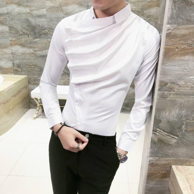 Autumn Men Shirt Fashion 2019 Korean Slim Fit Dress Shirts Mens Long Sleeve Front Fold Design Night Club Tuxedo Shirt Men 3XL-M 1