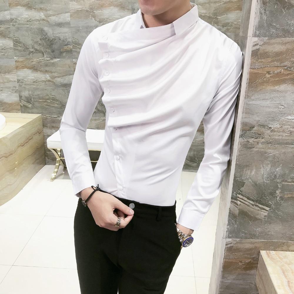 Autumn Men Shirt Fashion 2020 Korean Slim Fit Dress Shirts Mens Long Sleeve Front Fold Design Night Club Tuxedo Shirt Men 3XL-M
