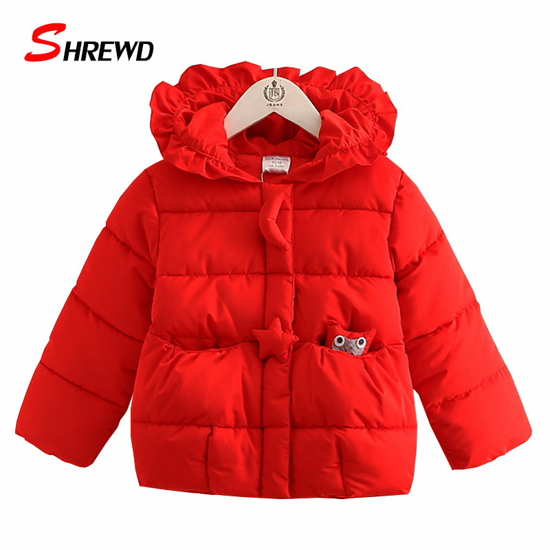 ФОТО Girls Winter Coat New 2017 Casual Owl Solid Color Winter Jacket For Girls Hooded Long Sleeve Simple Children Clothing 4418W