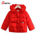 Girls Winter Coat New 2017 Casual Owl Solid Color Winter Jacket For Girls Hooded Long Sleeve Simple Children Clothing 4418W