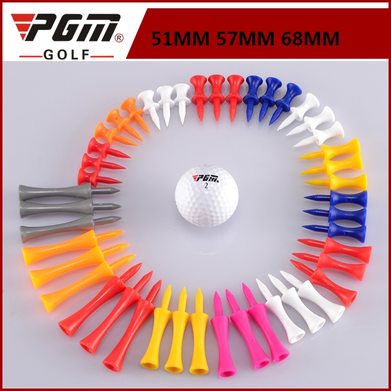 PGM 10 Pieces Soft Plastic Golf Tees Random Color Mixed Length 51mm 57mm 68mm Ball Holder D0716