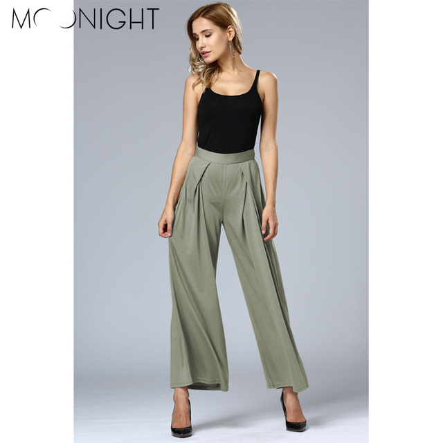 MOONIGHT Spring Elegant Ladies Trousers Fashion Women Wide Leg Pants Casual High Waist Long Pants Button Office Work Wear