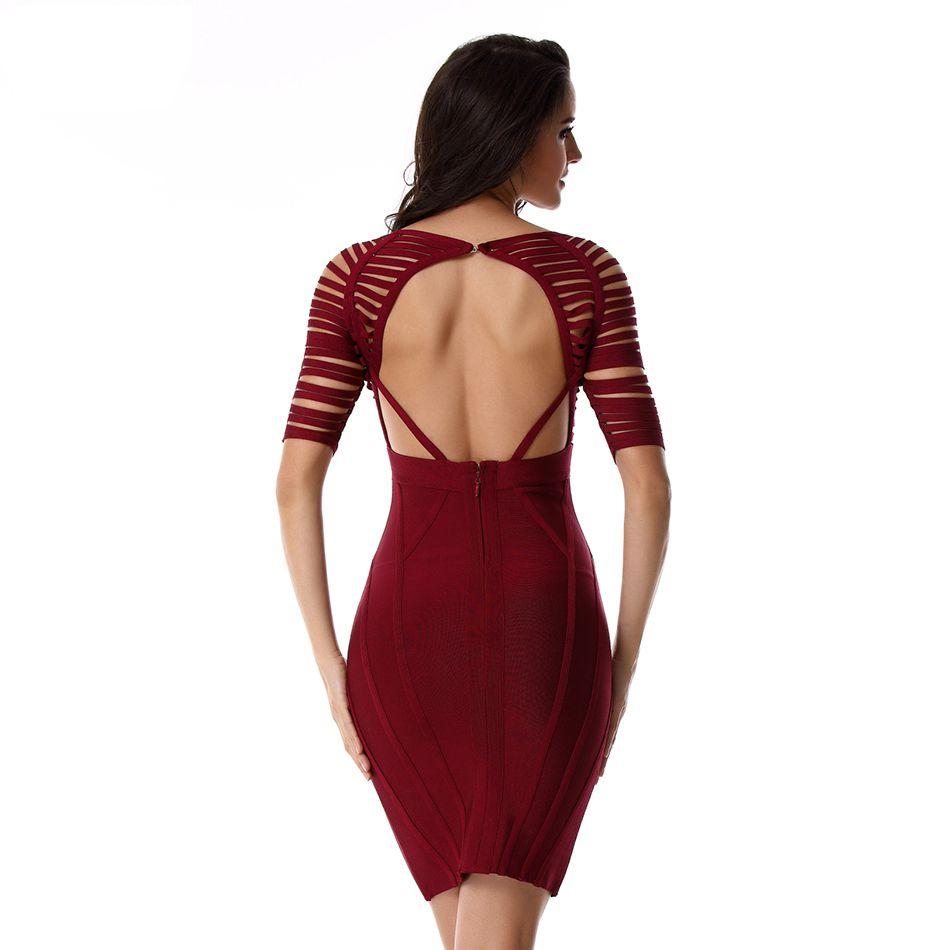 Vin Partie Dos Bandage Courte rouge Manches Élégant Femmes Nu Moulante Noir Sexy Robes Rouge multi Robe Évider Courtes Noir gbYf7y6