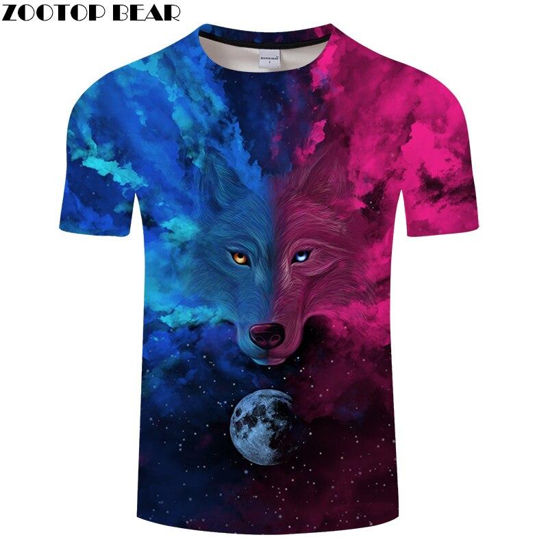 Purple 3D tshirts Men Wolf T shirt Summer t-shirt Streatwear Tee Casual Top Short Sleeve Camiseta O-neck Drop ship ZOOTOP BEAR