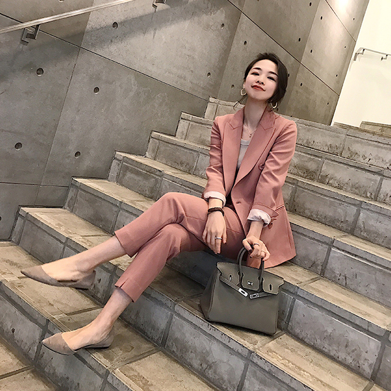 Autumn Women Pant Suits Double Breasted Notched Collar Jacket Blazer Sashes Pant Casual Female Suits 2018