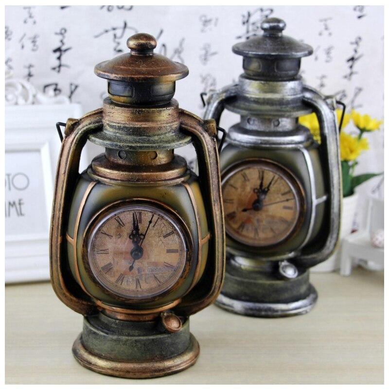Retro kerosene lamp decorations Resin oil lamp clock creative piggy bank personalized retro home decoration gifts