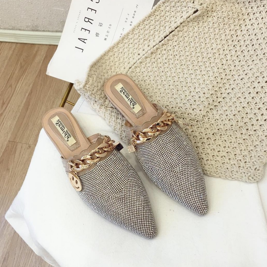 TINGHON Flat Mules Shoes Rivets Slippers Women Brand Buckle Shoes Fashion Slides Ladies Mules Luxury Slippers Designer Shoes in Slippers from Shoes