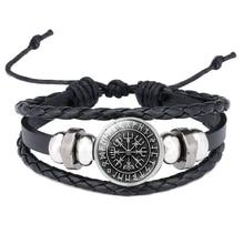 Viking Vegvisir Compass Pendants Bangle Nordic Runes Men Jewelry Odin Symbol Leather Bracelets