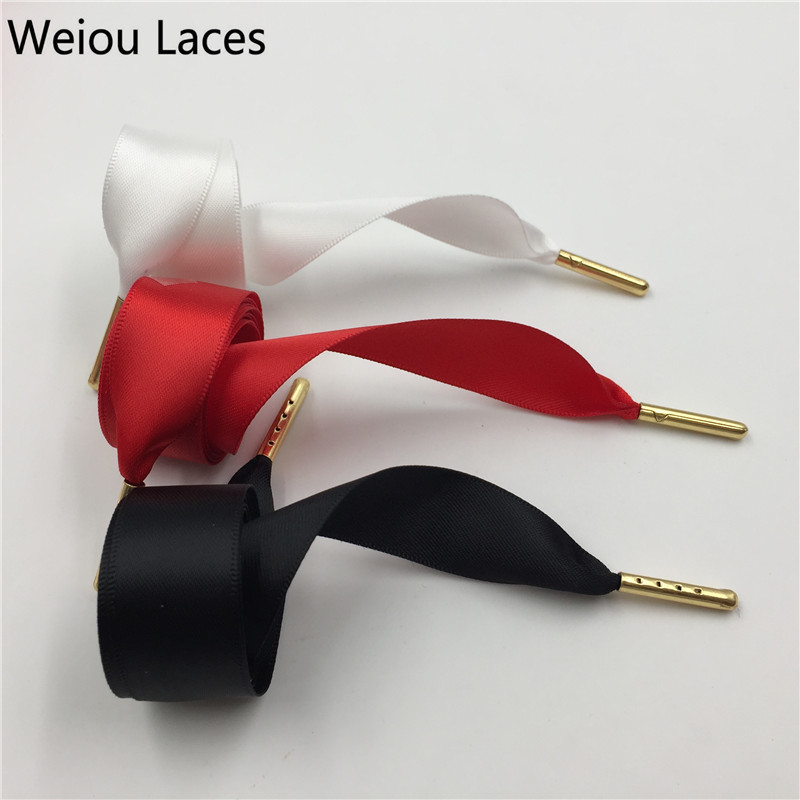 30Pairs Lot Weiou Fantastic 2cm Bowknot Flat Satin Silk Ribbon Children Kids Shoelaces Two sided