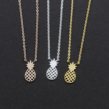 Tiny Pineapple Necklaces & Pendants Women Boho Jewelry Stainless Steel Rose Gold Chain Charm Ananas Chocker Statement Necklace(China)