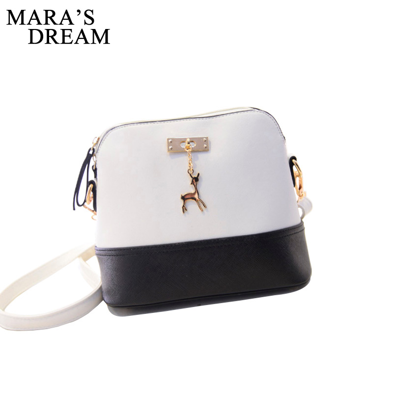 Mara's Dream Women Leather Small Shoulder Bag Women Deer Spliced Collision Cross Body Bag Women Shoulder Bags Girl Messenger Bag