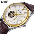 Luxury Brand LIGE Men's Watch Automatic Skeleton Mechanical Genuine Leather Business fashion Casual Male Wrist Watch Relogio