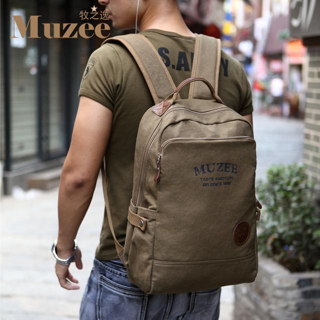 Envío libre, de alta calidad de la lona de la vendimia bolsa de estilo europeo de los hombres mochila mochila de viaje de los hombres, marca muzee