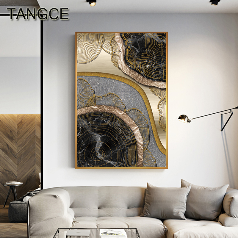 Abstract Black Golden Annual Ring Canvas Painting Modern Print and Poster Decoration for Living Room Bedroom HD Wall Art Picture