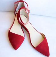 Fashion Red Suede Leather Women Pointy Toe Flats Elegant Style Ladies Ankle Buckles Flats High Quality Dress Shoes Ballet Shoes