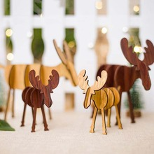 DIY Wooden Elk Ornaments Christmas Decorations For Home Merry Childrens Gifts Mini Desktop Xmas
