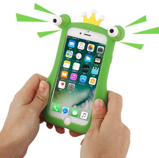 Pour iPhone X Pop Out Yeux Squeeze Grenouille Jouet Cas de Couverture de Silicone Pour iPhone 6 6 S 7 8 Plus