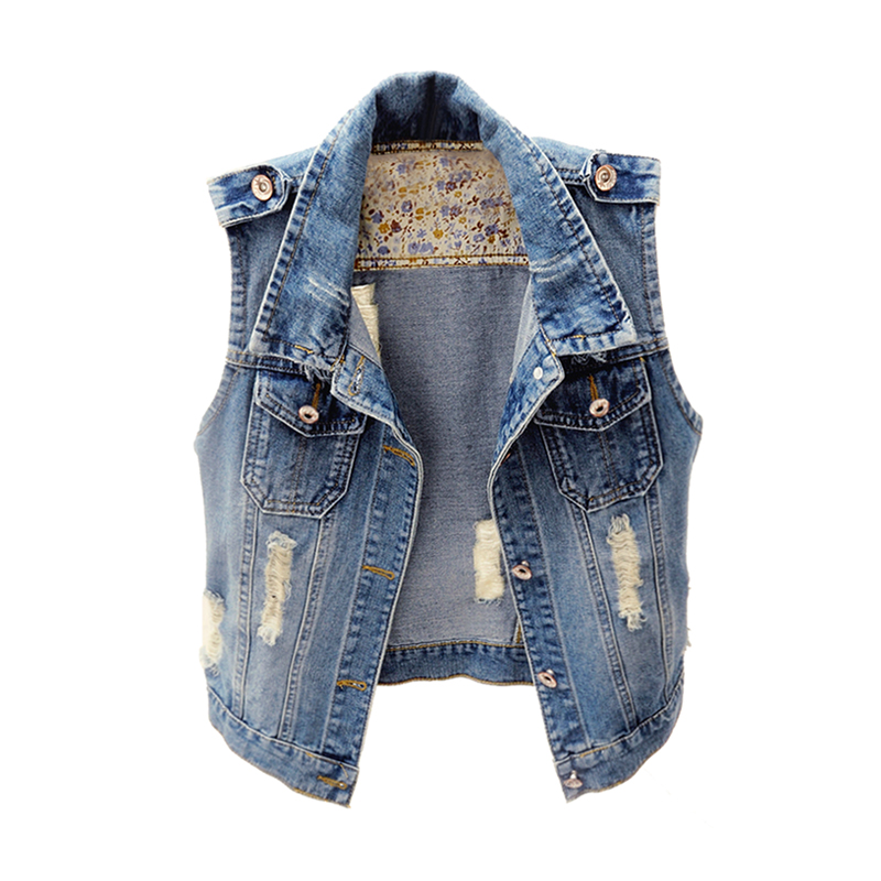 2018 New Tide Woman Jeans Vest Denim Slim Short Vests Sleeveless Hole Hip Hop Girl Waistcoat Female Jacket Womens Clothing Hot