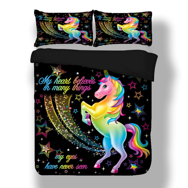 Dropshipping Duvet Cover Rainbow Unicorn Fairytale with Sparkling Stars 3D Digital Printing Bedding Sets Black Background 2