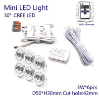 D50xH30mm Dimmable 3W CREE Downlight  220V 110V Mini Led Spot Light with Dimmer  Driver  Cable  6 lights/set