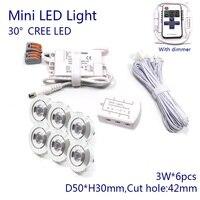D50xH30mm Dimmbare 3 watt CREE Downlight 220 v 110 v Mini Led Spot Licht mit Dimmer  Fahrer  kabel  6 lichter/set