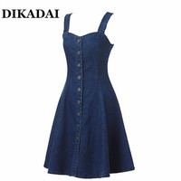2017 Summer Denim Dress Off Shoulder Suspender Jeans Dresses Woman Single Breasted One Piece Clothing Sexy