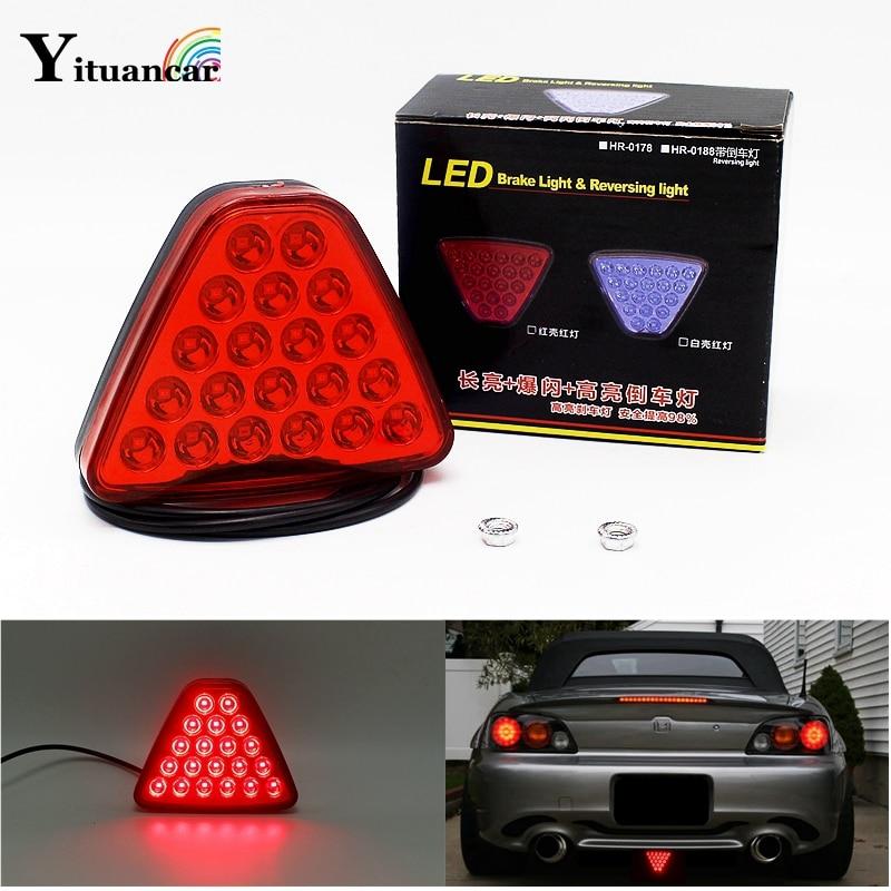 Yituancar 1 Pcs 20 Led De Voiture Camion Remorque Feu arrière LED De Frein Signal D'arrêt D'avertissement de Recul Lampe Triangl Stroboscopique Styling Source