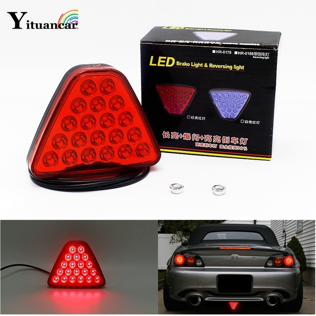Yituancar 1Pcs 20 LEDs Car Truck Trailer Tail Light LED Brake Stop Signal Reversing Warning Lamp Triangl Strobe Styling Source