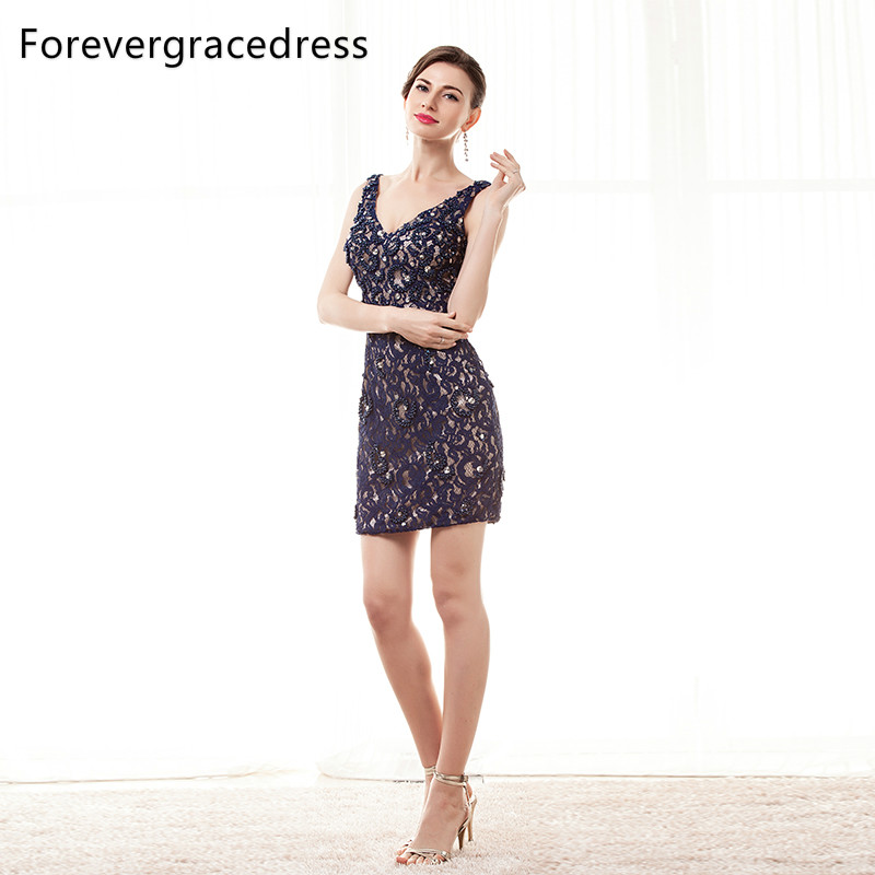 Forevergracedress 2017 Lace Cocktail Dress Sexy V Neck Beaded Sleeveless Backless Short Mini Party Gown Plus Size Custom Made