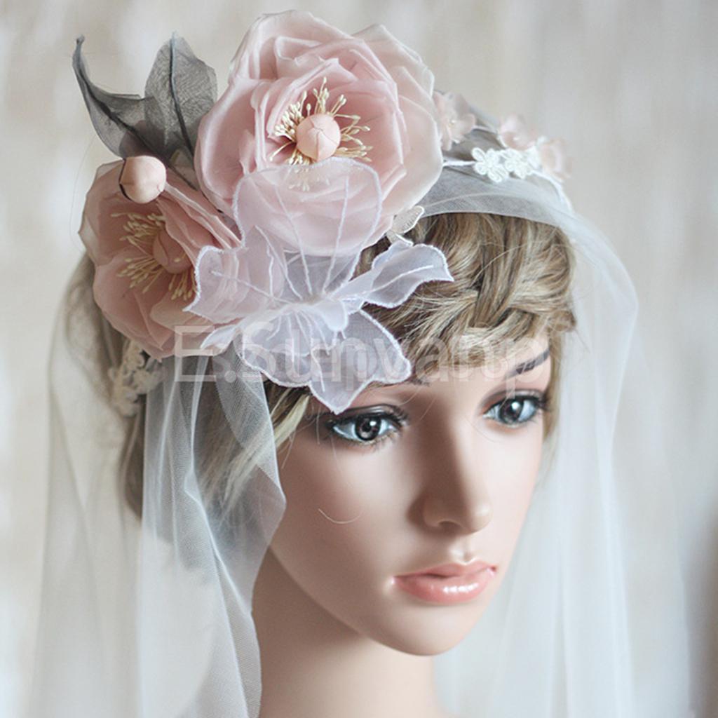 White Wedding Bridal Veil With Pink Flower Leaf Butterfly Headband