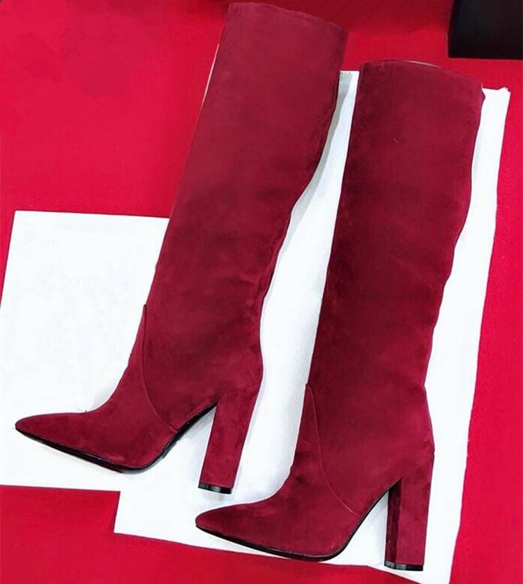 Шикарные женские сапоги из коровьей кожи с острым носком; коллекция года; сезон осень-зима; высокие сапоги из натуральной кожи на высоком каблуке; модные сапоги до колена; EU35-40; BY582