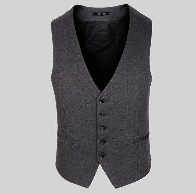 100% мужчины жилет мужские свободного покроя костюм V - с высоким воротником приталенный Fit жилеты мужчины одежда костюм жилет