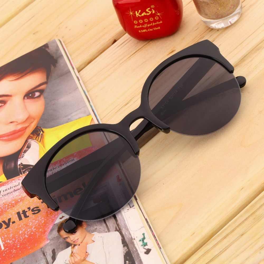 أزياء للجنسين ريترو جولة دائرة نصف بدون إطار نظارات شمسية الصيف مكبرة