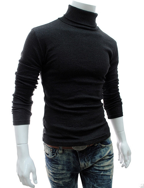 8d053142a679 Turtleneck Solid Color Casual Men'S Sweater Drop shipping Brand discount  Sweater Male Slim Fit Brand top