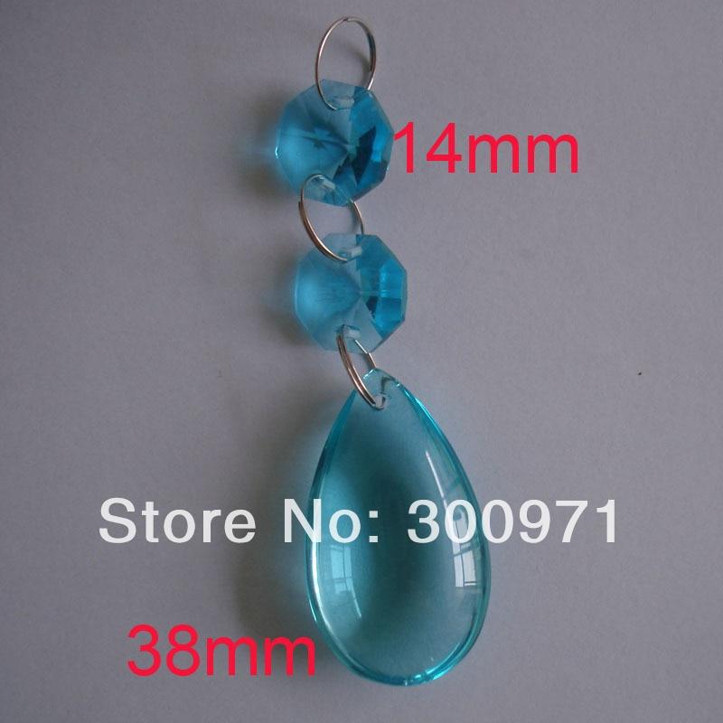 100set/lot,38mm crystal tear pendant +2pcs 14mm octagon beads in aquamarine,GLASS CHANDELIER CRYSTAL PRISMS PENDANTS WEDDING
