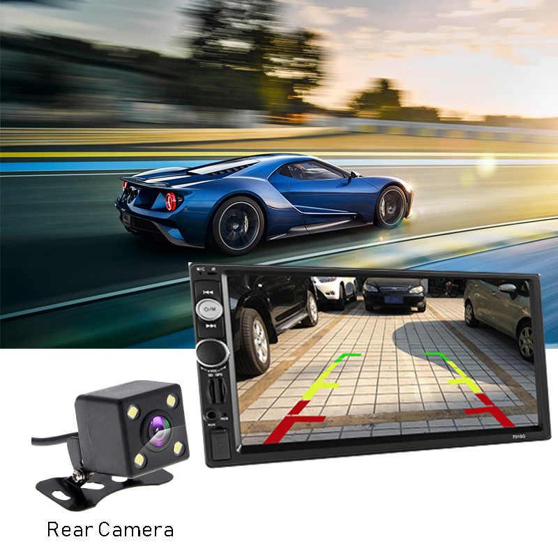 "2 DIN Mobil Radio 7 ""Bluetooth Stereo Mobil Multimedia Player Autoradio MP3 MP5 Layar Sentuh Auto Radio Dukungan Belakang kamera"