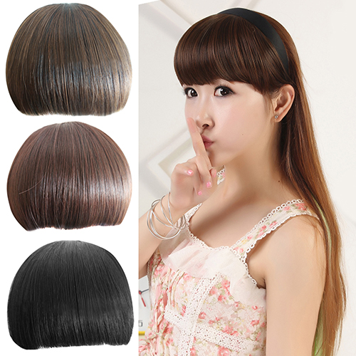 2016 New Arrival Girls Pretty Clip On Front Hair Neat Bang Straight Fringe Hair Extension
