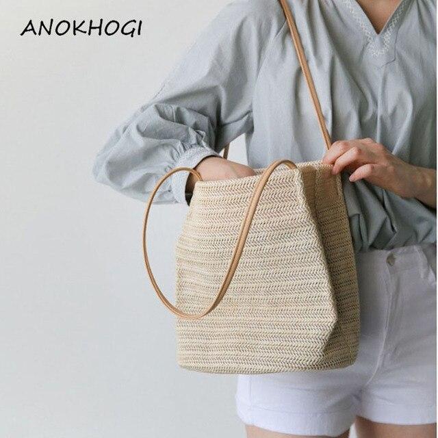 Vintage Handmade Women Rattan Bag Straw Woven Shoulder Bags Bow Holiday Beach Bohemia Crossbody Bag Messengers Handbag 1