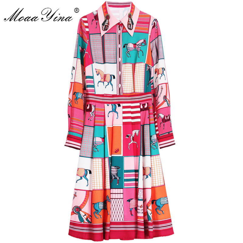 MoaaYina Fashion Designer Runway Dress Spring Women Long sleeve Turn down Collar Beading Diamond Plaid Print