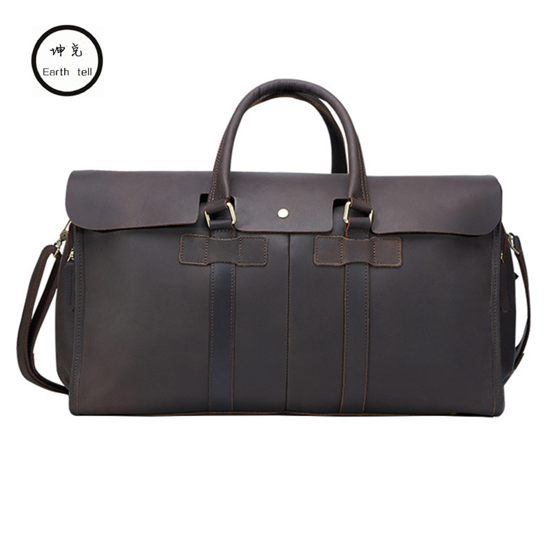 Vintage Genuine Leather Men Travel Bag Carry on Large Luggage Men leather duffle overnight weekend Shoulder bags Tote Handbag augur new canvas leather carry on luggage bags men travel bags men travel tote large capacity weekend bag overnight duffel bags