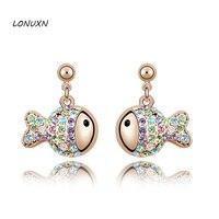 Yin Yuanbao Authentic High End Fashion Austria Crystal Earrings Earrings Female Birthday Gift OL Rich Fish