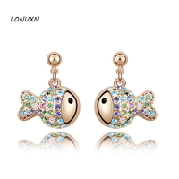 Yin Yuanbao Authentic High End Fashion Austria Crystal Earrings Earrings Female Birthday Gift OL Rich Fish