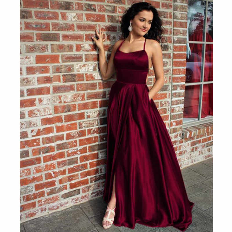 Sexy Open Back Burgundy Prom Dresses Long Elegant Halter Royal Blue Prom Gowns Formal Leg Slit Dress Vestidos De Gala Prom Dresses Aliexpress