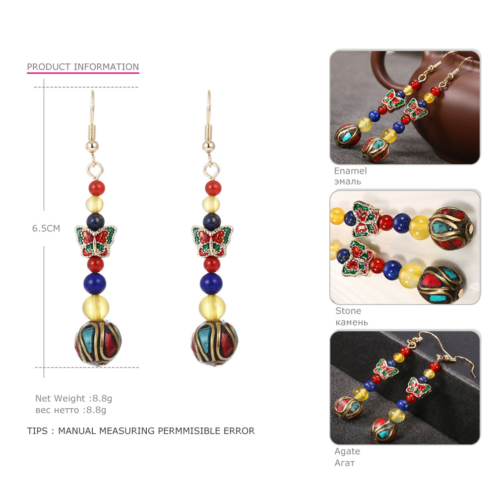 US $3 68 25% OFF|MloveAcc Original Chinese Handmade Cloisonne Art Butterfly  Earrings Nepal Beads Folk Style Retro Natural Stone Ethnic Jewelry-in Drop