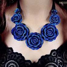 Moon Appeal Blue Rose Flower False Collar Chains Ribbon Assertion Necklaces & Pendants 2015 Vogue Jewellery Ladies Wholesale N67